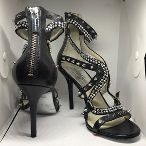 Michael Kors Black Leather Studded Open Toe Heels